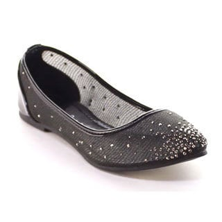 Beston Bb18 Women's Rhinestone Detail Slip On Ballet Flats