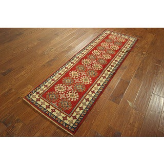 Veg Dyed Super Kazak Hand-knotted Wool Rose Red Geometric Area Rug (2'3 x 6'10)