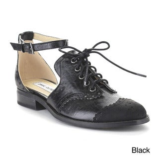 Beston Aa85 Women's Lace Up Cut Out Flat Heel Ankle Strap Oxfords