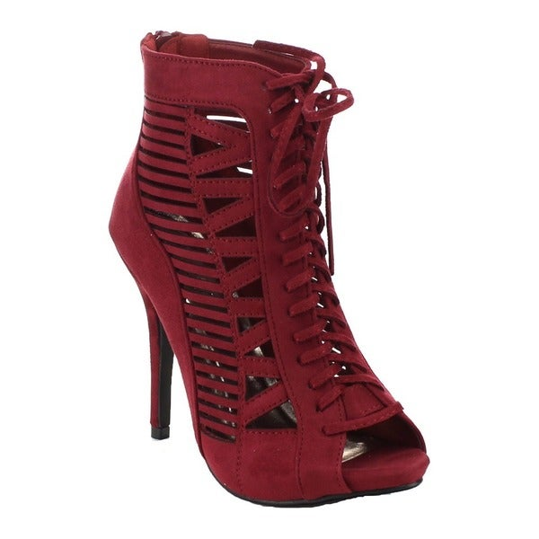 Beston BA83 Women's Zipper Lace-up Cut-out Stiletto Shoes 19101713