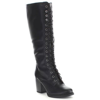 Soda Katie Women's Lace Up Chunky Knee High Boots
