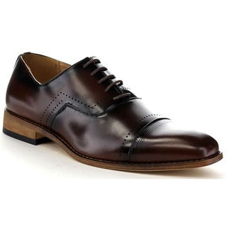 Beston Ea35 Men's Perforated Cap Toe Lace Up Dress Oxford Shoes