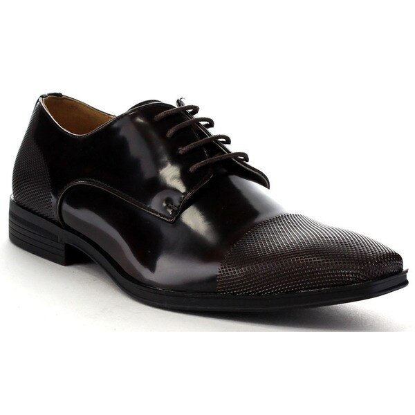 Beston Ea34 Men's Shiny Lace Up Slip On Dress Oxford Shoes
