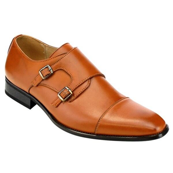 Beston Ea28 Men's Double Monk Strap Slip On Dress Shoes