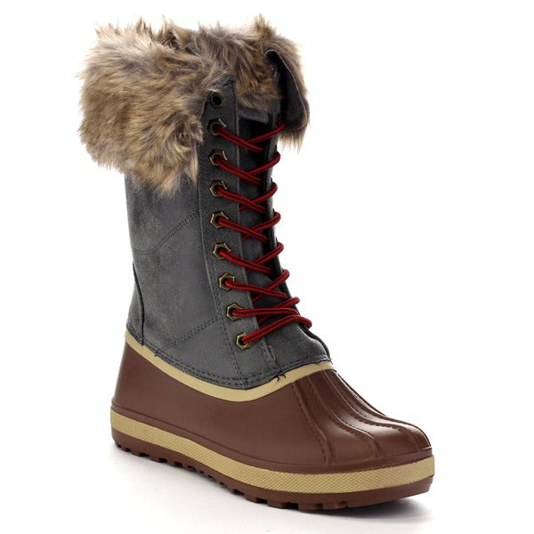 Beston Ba81 Women's Lug Sole Front Lace Up Side Zipper Mid Calf Duck Boot