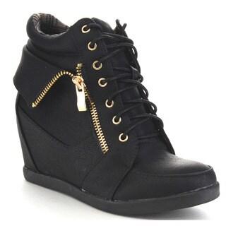 Beston Ca81 Women's Hidden Wedge Heel Fold Over Lace Up Sneakers