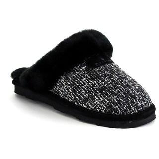 Bearpaw Paulette-1804w Women's Comfort Sheepskin Collar Lightweight Slippers