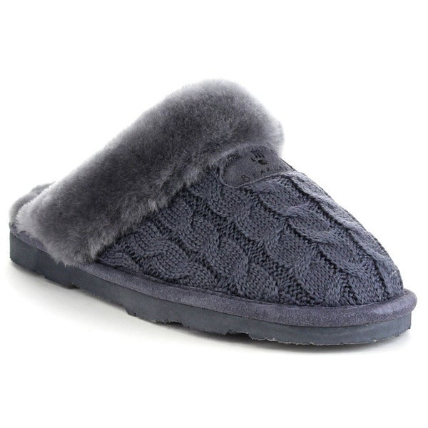 Bearpaw Effie-1674w Women's Comfort Flat Sheepskin Collar Slippers