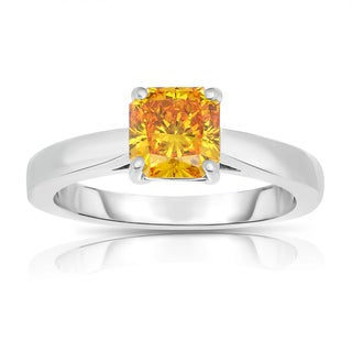 Solaura Collection 14k White Gold Solitaire 1 3/8 ct TW Radiant-cut Lab-grown Diamond Ring (Fancy Yellow, SI)
