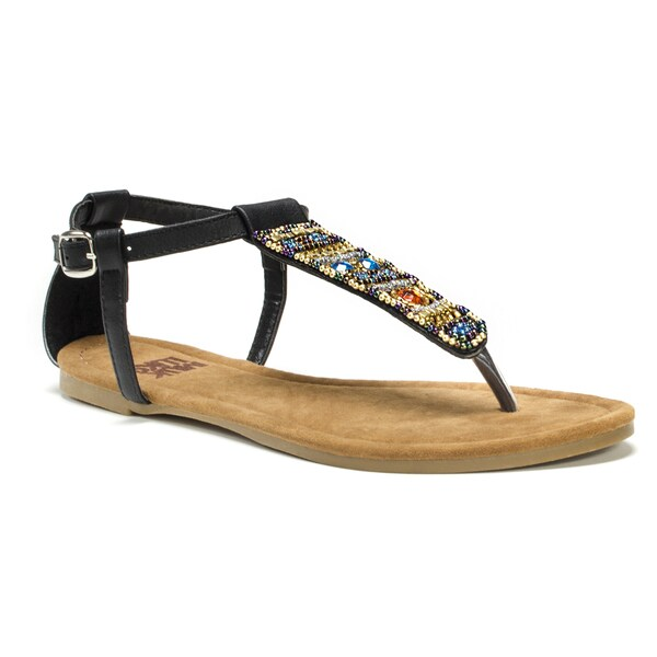 Muk Luks Women's Black Monica Beaded Sandals