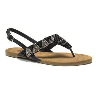 Muk Luks Women's Black Jamie Beaded Sandals