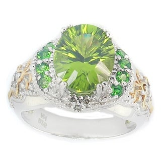 Michael Valitutti Peridot, Chrome Diopside & Diamond Ring