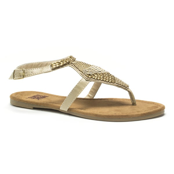 Muk Luks Women's Tan Pamela Beaded Sandals