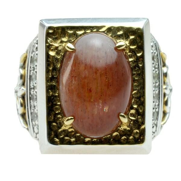 Michael Valitutti Sunstone & White Sapphire Mens Ring