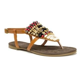 Muk Luks Women's Brown Harlow Beaded Sandals