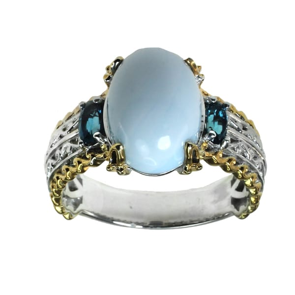 Michael Valitutti Blue Opal & London Blue Topaz Silver Ring