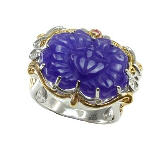 One-of-a-kind Michael Valitutti Carved Purple Jade & Pink Sapphire Ring