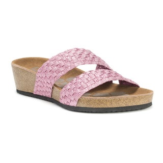 Muk Luks Women's Pink Heather Wedge Sandals
