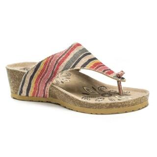 Muk Luks Women's Tan Sue Ellen Wedge Sandals