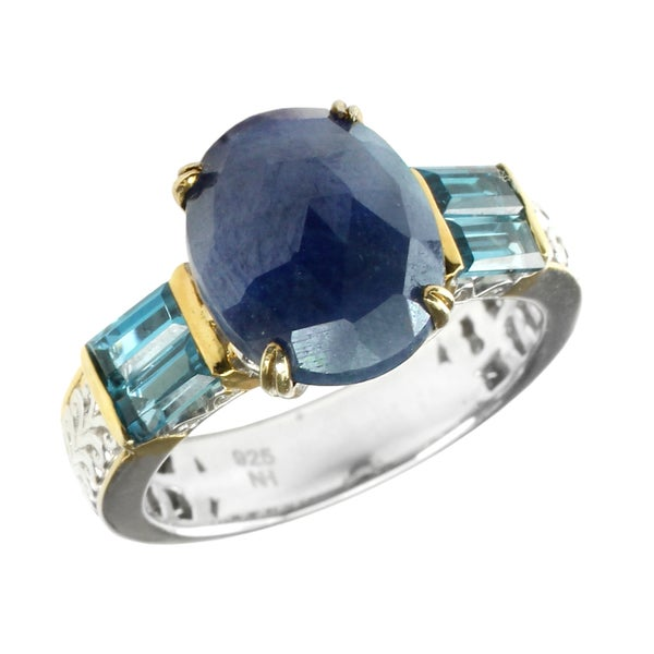 One-of-a-kind Michael Valitutti London Blue Topaz & Blue Sapphire Silver Ring