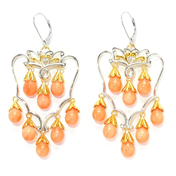 Michael Valitutti Salmon Coral Chandelier Earrings