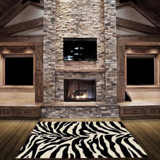 LYKE Home Hand-carved Zebra Skin Animal Print Area Rug (5' x 7') - 5'3 x 7'2