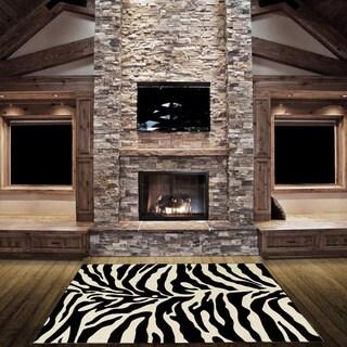 LYKE Home Hand-carved Zebra Skin Animal Print Area Rug (5' x 7')