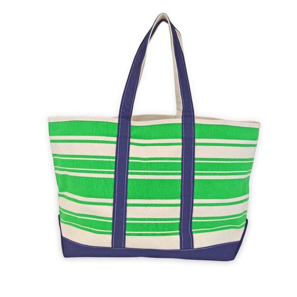 All For Color Green Stripe Canvas Tote