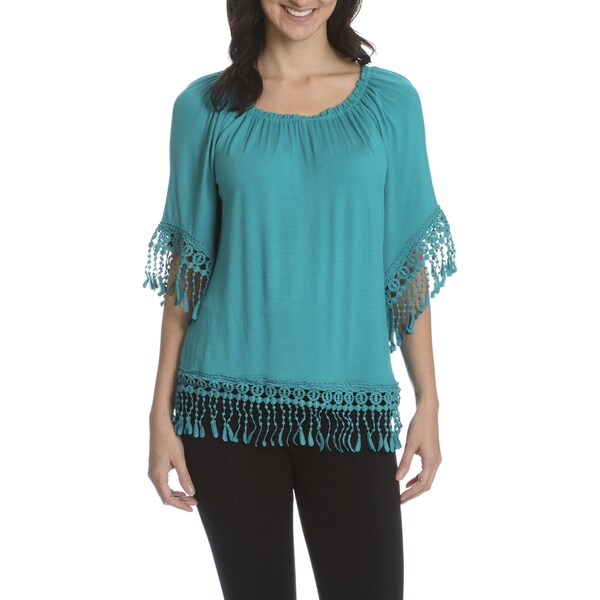Sunny Leigh Women's Short Fringe Angel Sleeve Top
