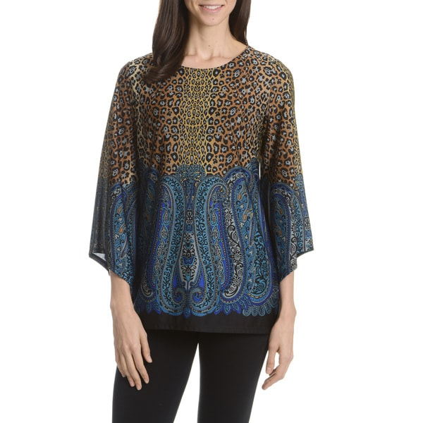 Sunny Taylor Women's Leopard/Paisley Colorblock Printed Tunic