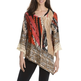 Sunny Leigh Women's Printed 3/4 Bell Sleeve Tunic