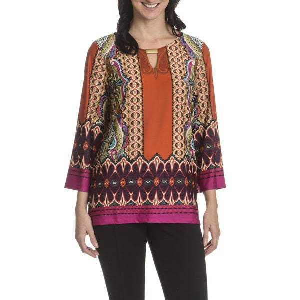 Sunny Leigh Women's Printed Metal Bar Keyhole Tunic