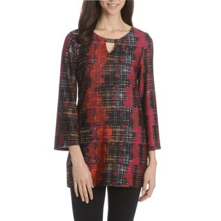 Sunny Leigh Women's Printed 3/4 Trumpet Sleeve Tunic