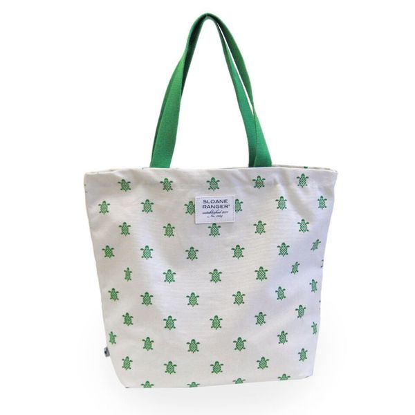 Sloane Ranger Green Turtle Canvas Tote Bag