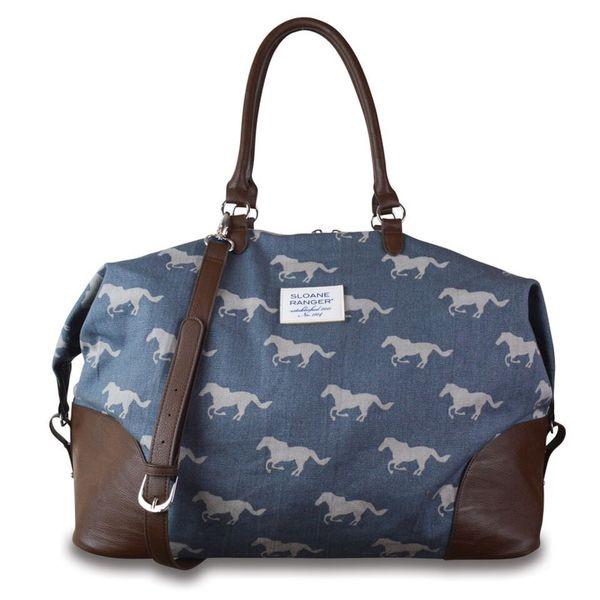 Sloane Ranger Grey Horse Weekender Carry On Tote Bag