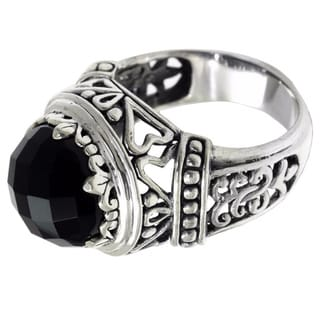 Handcrafted Sterling Silver 'Midnight Queen' Onyx Ring (Indonesia)