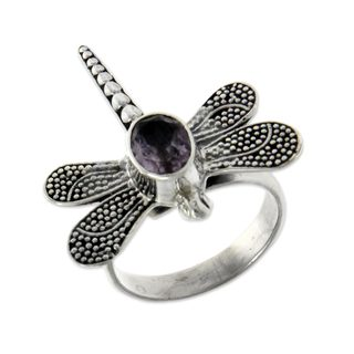 Sterling Silver 'Gossamer Dragonfly' Amethyst Ring (Indonesia)