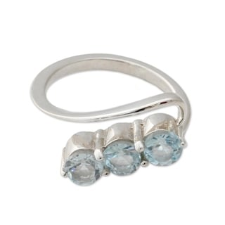 Handcrafted Sterling Silver 'Celestial Trio' Blue Topaz Ring (India)