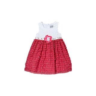 Mia Juliana Eyelet To Ruffle Dress With Spangles