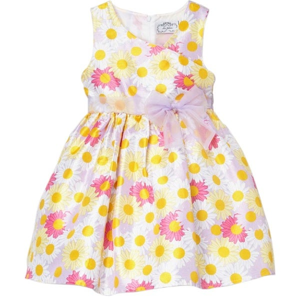 Mia Juliana Daisy Printed Shantung Dress With Organza Accents