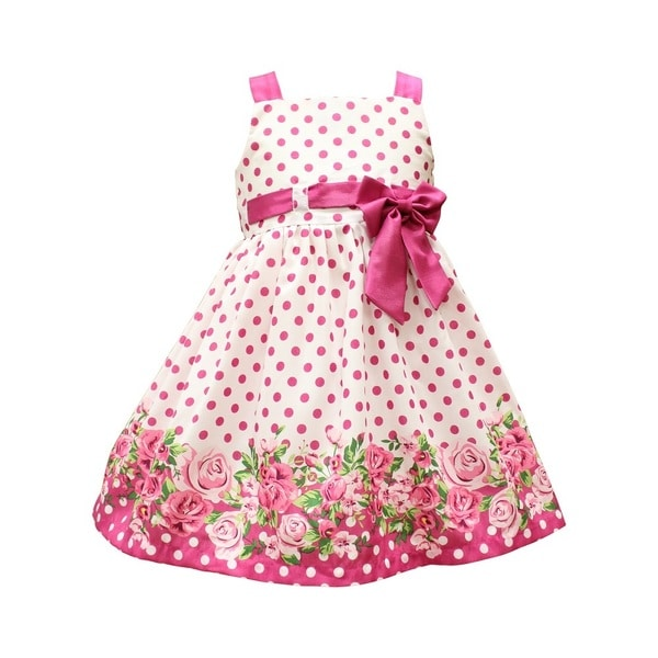 Mia Juliana Floral Border Shantung Dress With Pull Thru Bodice and Bow