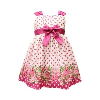 Mia Juliana Floral Border Shantung Dress With Pleated Band, Bow and Shirred Bodice