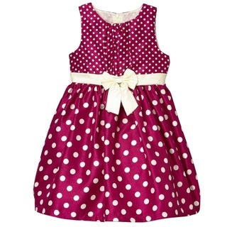 Mia Juliana Girl's Polk-dot Shantung Dress with Band/ Bow/ Shirred Bodice