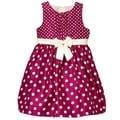 Mia Juliana Girl's Polk-dot Shantung Dress with Band/ Bow/ Shirred Bodice