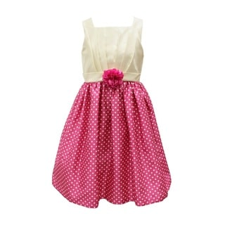 Mia Juliana Dot To Solid Shantung Dress With Flower Front