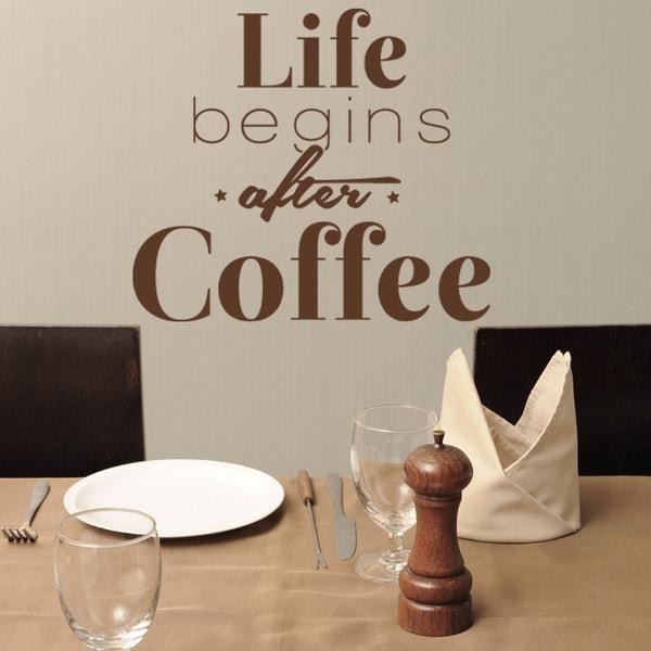 Life Begins After Coffee Vinyl Sticker Wall Decor