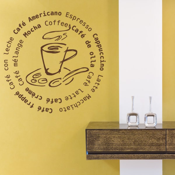 Coffee All Around Vinyl Sticker Wall Decor