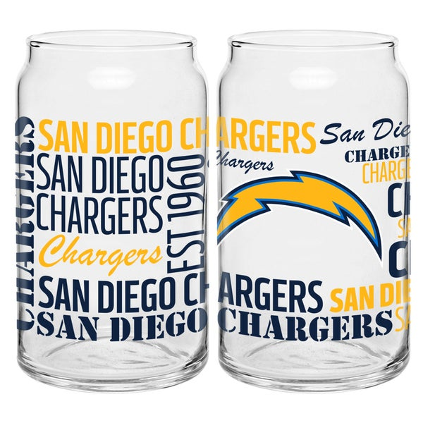 San Diego Chargers 16-Ounce Glass Spirit Glass Set