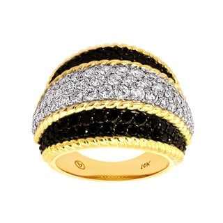 Beverly Hills Charm 14k Yellow Gold 2 1/6ct TDW Black and White Diamonds Wide Band Ring (H-I, SI2-I1)
