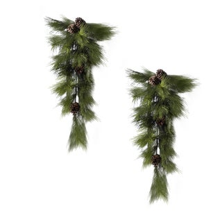 Holiday Collection 8-inch Ponderosa Pine Door Swag (Pack of 2)